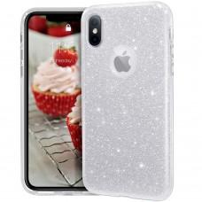 Силикон Glitter Apple iPhone XS Max (Серебряный)