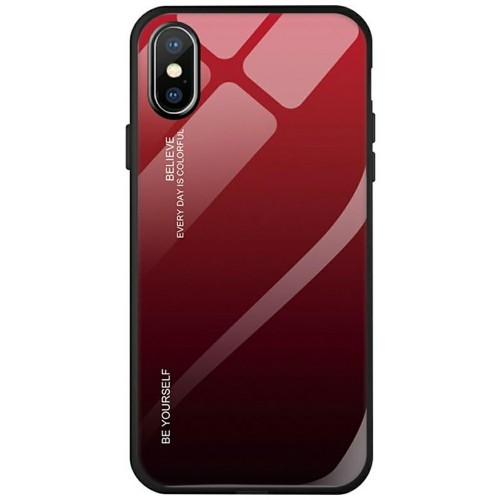 Накладка Glass Case Apple iPhone X / XS (Красный)