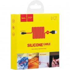 USB-кабель Hoco Silicone X21 (Lightning) (черно-красный)