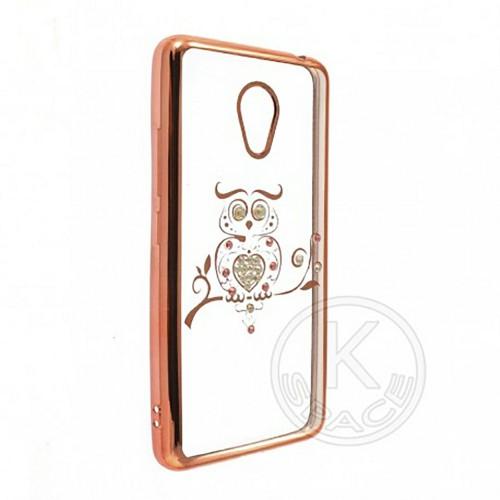 Силиконовый чехол Kingxbar Diamond Meizu M6 (Сова, Розовый)