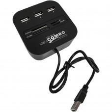 Переходник USB + Card Reader HUB RS0019 (3 порта)