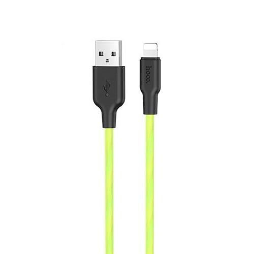 USB-кабель Hoco Silicone X21 Plus Fluorescent 1m (Lightning) (Зелёный)