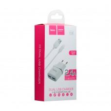 СЗУ-адаптер Hoco C12 + MicroUSB-кабель 2.4A 2USB