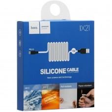 USB-кабель Hoco Silicone X21 (MicroUSB) (черно-белый)