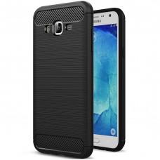 Силиконовый чехол Polished Carbon Samsung Galaxy J7 (2015) J700 (Чёрный)