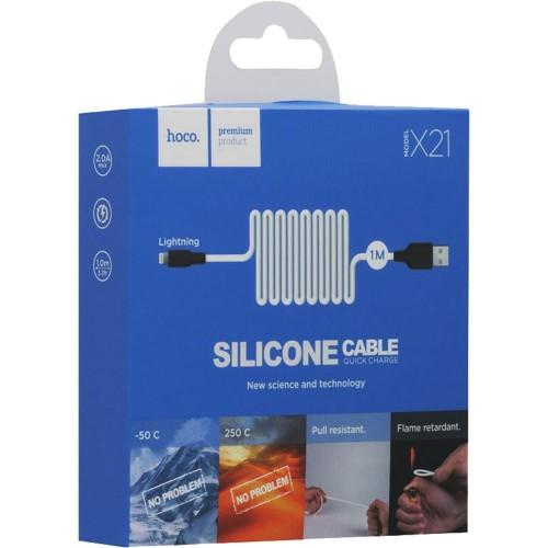 USB-кабель Hoco Silicone X21 (Lightning) (черно-белый)