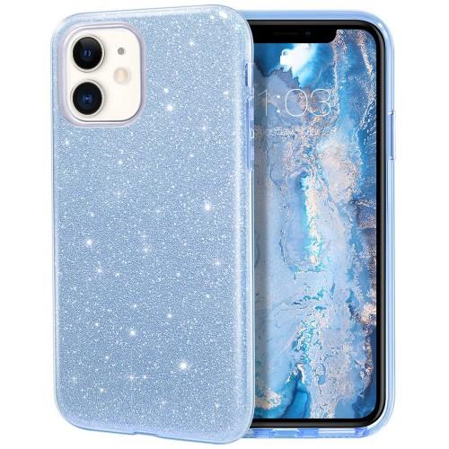 Силикон Glitter Apple iPhone 11 (Голубой)