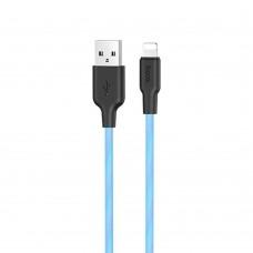 USB-кабель Hoco Silicone X21 Plus Fluorescent 1m (Lightning) (Голубой)