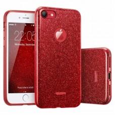 Силиконовый чехол Glitter Apple iPhone 7 / 8 (красный)
