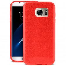 Силикон Glitter Samsung Galaxy S7 Edge (Красный)