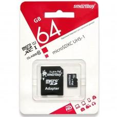 Карта памяти Smartbuy MicroSDHC UHS-1 64Gb (Class 10) + SD-адаптер
