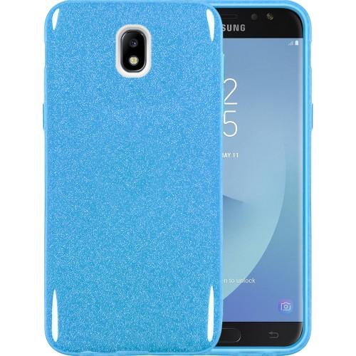 Силиконовый чехол Glitter Samsung Galaxy J7 (2017) J730 (Голубой)