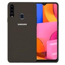 Силикон Original Case Logo Samsung Galaxy A20S (2019) (Коричневый)