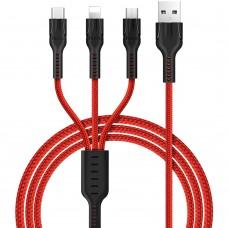 USB-кабель Hoco Universal X2 (Lightning, MicroUSB, Type-C) 1m