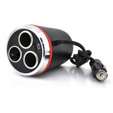 Автомобильный Тройник для Прикуривателя + USB 3.1A 1514 (Чёрный)
