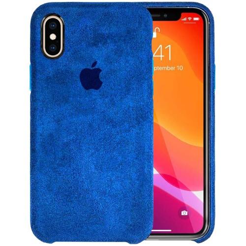 Чехол Alcantara Cover Apple iPhone X / XS (Синий)