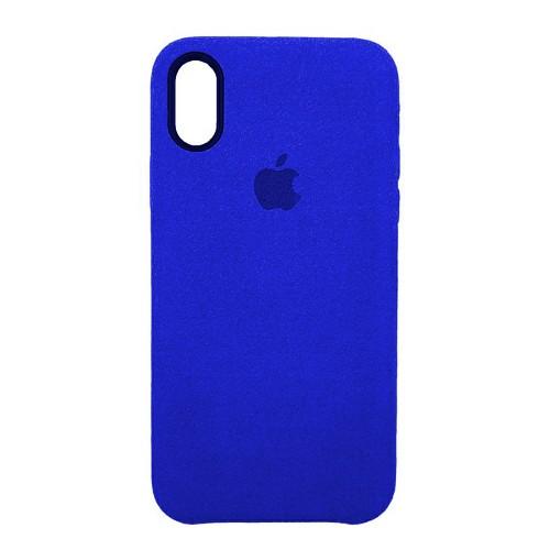 Чехол Alcantara Cover Apple iPhone X / XS (темно-синий)