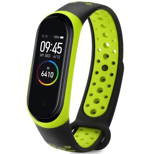 Ремешок Nike Style Xiaomi Mi Band 3 / Mi Band 4 (Чёрно-зелёный)
