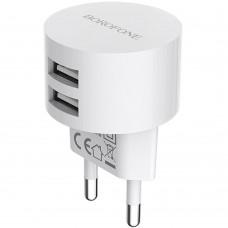СЗУ-адаптер USB Borofone BA23A 2 USB 2.4A (Белый)