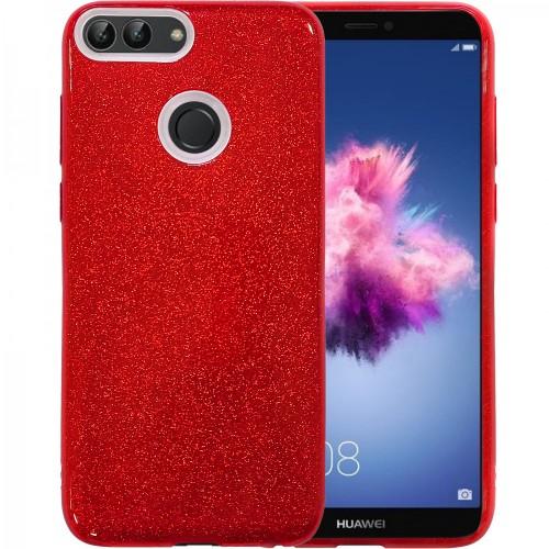 Силиконовый чехол Glitter Huawei P Smart (красный)