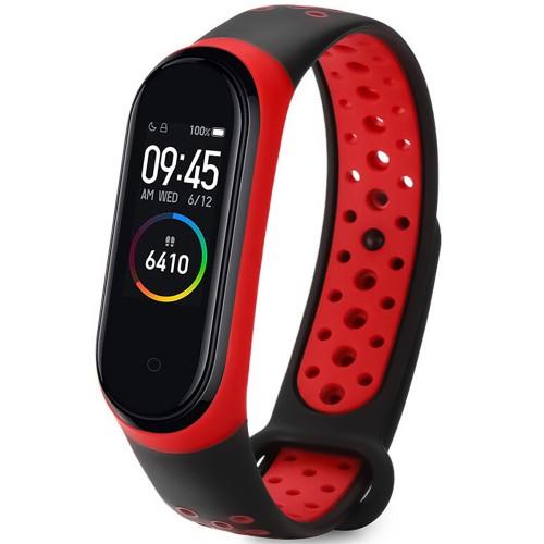 Ремешок Nike Style Xiaomi Mi Band 3 / Mi Band 4 (Чёрно-красный)