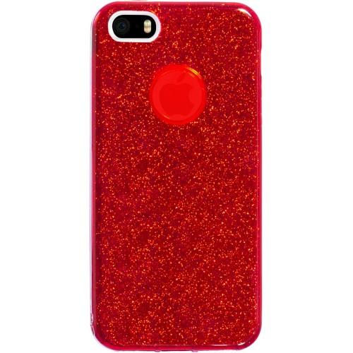 Силиконовый чехол Glitter Apple iPhone 5 / 5s / SE (Красный)