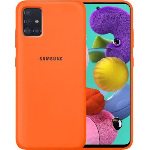 Силикон Original 360 Case Logo Samsung Galaxy A51 (2020) (Оранжевый)