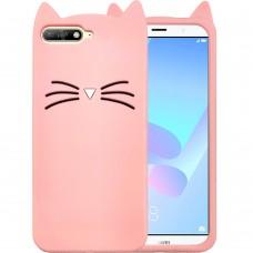 Силикон Kitty Case Huawei Y6 (2018) / Y6 Prime (2018) / Honor 7A Pro (Розовый)