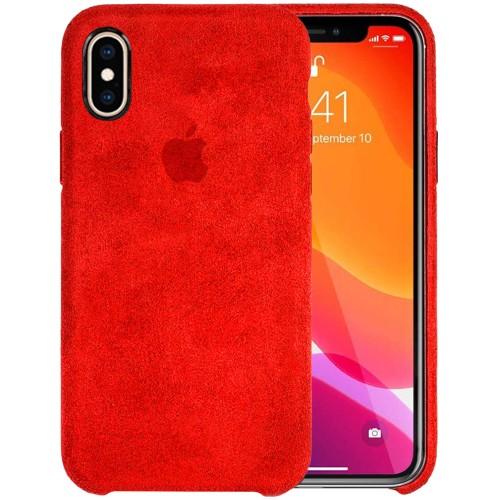 Чехол Alcantara Cover Apple iPhone X / XS (Красный)