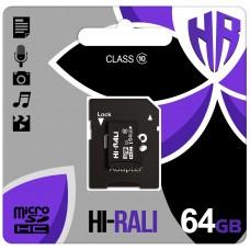 Карта памяти Hi-Rali MicroSDHC 64Gb (Class 10) + SD-адаптер