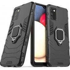 Бронь-чехол Ring Armor Case Samsung Galaxy A02S (2020) (Чёрный)