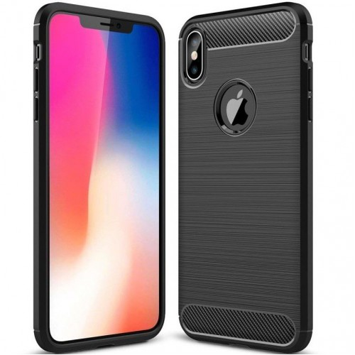 Силикон Polished Carbon Apple iPhone XS Max (черный)