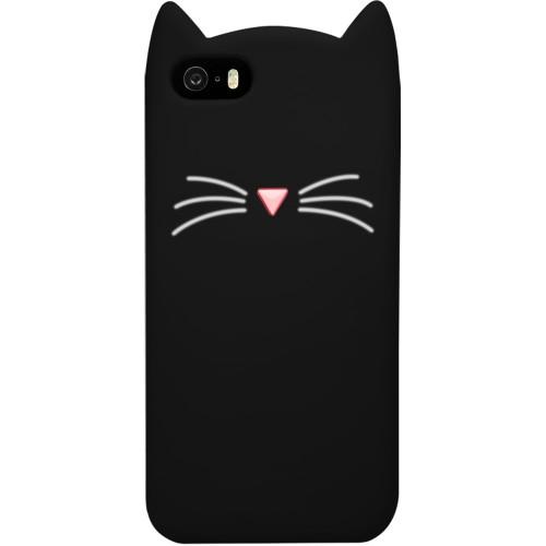 Силикон Kitty Case Apple iPhone 5 / 5s / SE (Черный)