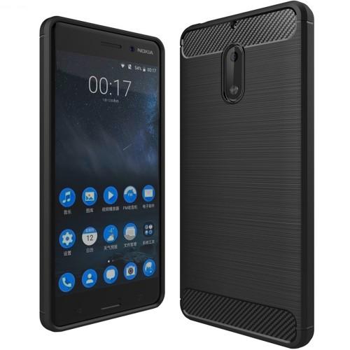 Силиконовый чехол Polished Carbon Nokia 6 (Черный)