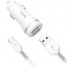 АЗУ-адаптер Hoco Z27 Staunch 2USB 2.4A + Type-C-кабель (Белый)