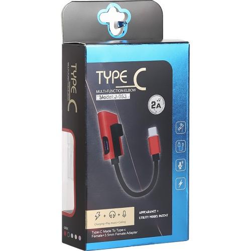 Переходник J-053 USB Type-C to AUX 3.5mm (Чёрный)