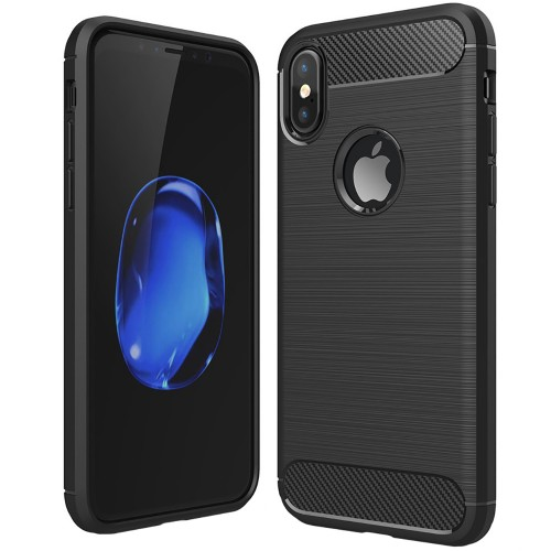 Силикон Polished Carbon Apple iPhone X / XS (черный)