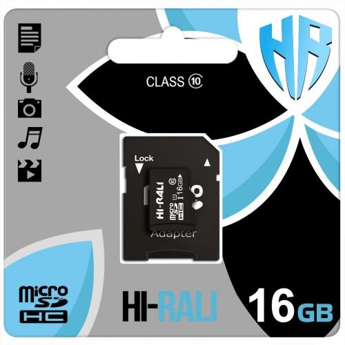 Карта памяти Hi-Rali MicroSDHC 16Gb (Class 10) + SD Adapter