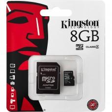 Карта памяти Kingston MicroSDHC 8Gb (Class 4) + SD-адаптер