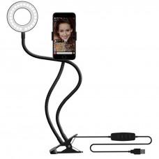 Набор для съемки LED-лампа на стойке с зажимом для телефона (Чёрный)