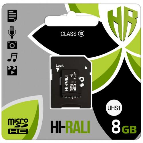 Карта памяти Hi-Rali MicroSDHC 8Gb (Class 10) + SD-адаптер