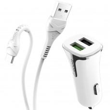 АЗУ-адаптер Hoco Z31 Universe 2USB 2.4A QC3.0 + Type-C-кабель (Белый)