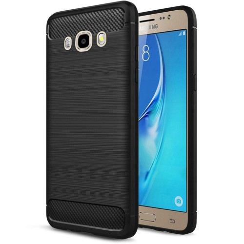 Силиконовый чехол Polished Carbon Samsung Galaxy J7 (2016) J710 (Чёрный)