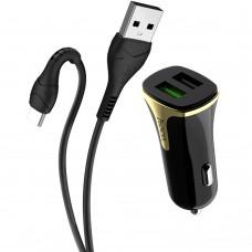 АЗУ-адаптер Hoco Z31 Universe 2USB 2.4A QC3.0 + Type-C-кабель (Чёрный)