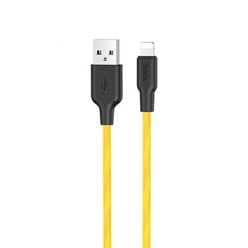 USB-кабель Hoco Silicone X21 Plus Fluorescent 1m (Lightning) (Жёлтый)