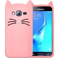 Силикон Kitty Case Samsung Galaxy J3 (2016) J320 (Розовый)