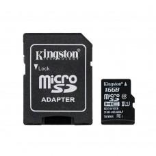 Карта памяти Kingston MicroSDHC 16Gb Class 10 + SD Adapter