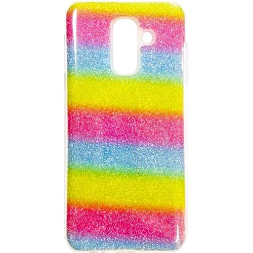 Силиконовый чехол Glitter Samsung Galaxy A6 Plus (2018) A605 (Радуга)