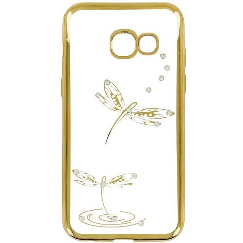Силиконовый чехол Kingxbar Diamond Samsung A3 (2017) A320 (Стрекоза, Золотой)