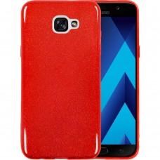 Силиконовый чехол Glitter Samsung Galaxy A7 (2017) A720 (Красный)